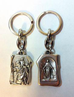 """Брелок двусторонний """"Богородица непорочного зачатия и святой Христофор"""""""